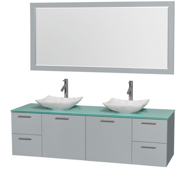 Wyndham Collection WCR410072DDGGGGS6M70 Amare 72 Inch Double Bathroom Vanity in Dove Gray, Green Glass Countertop, Arista White Carrera Marble Sinks, and 70 Inch Mirror