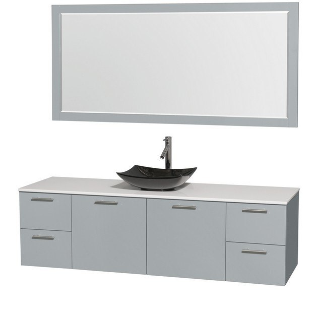 Wyndham Collection Wcr410072sdgwsgs4m70 Amare 72 Inch Single Bathroom Vanity In Dove Gray White