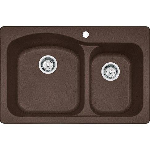 Franke DIG62F91-MOC Gravity 33 Inch Dual Mount Double Bowl Granite Kitchen Sink in Mocha
