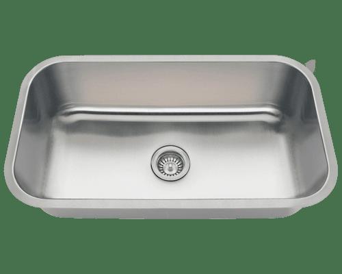Polaris PC8123 Single Bowl Undermount Stainless Steel Sink 32-1/4 Inch Brushed Satin