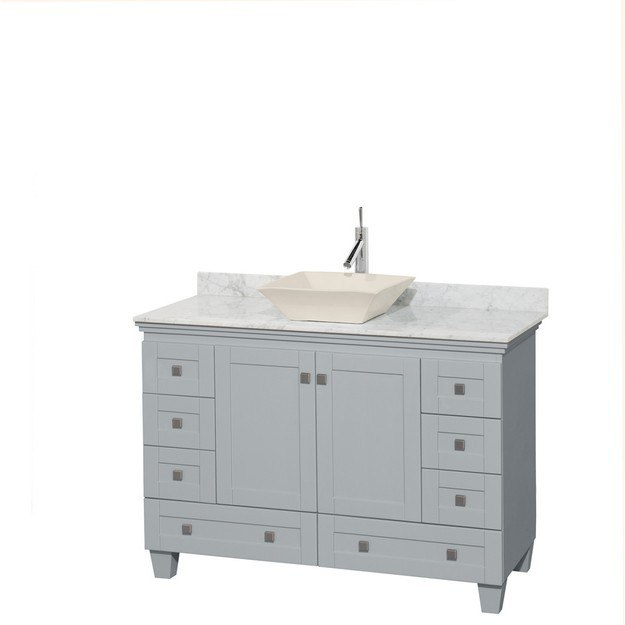 Wyndham Collection WCV800048SOYCMD2BMXX Acclaim 48 Inch Single Bathroom Vanity in Oyster Gray, White Carrera Marble Countertop, Pyra Bone Porcelain Sink, and No Mirror
