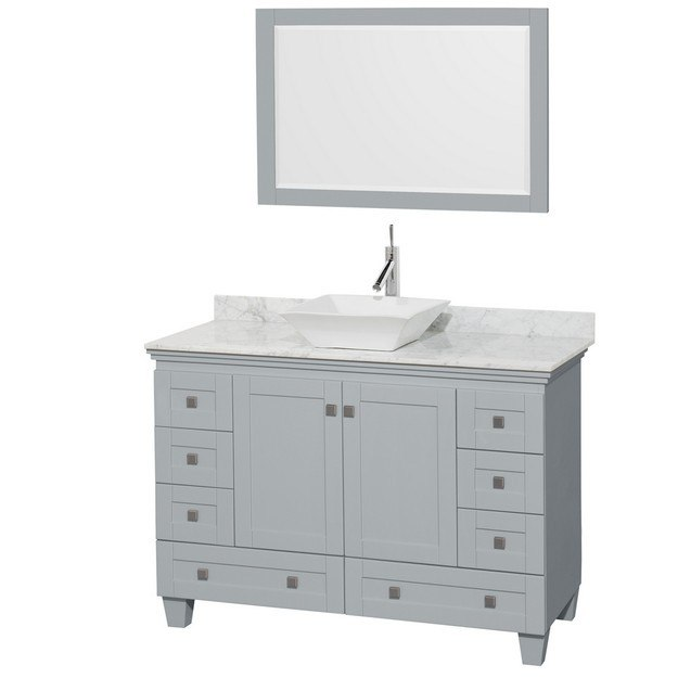 Wyndham Collection WCV800048SOYCMD2WM24 Acclaim 48 Inch Single Bathroom Vanity in Oyster Gray, White Carrera Marble Countertop, Pyra White Porcelain Sink, and 24 Inch Mirror