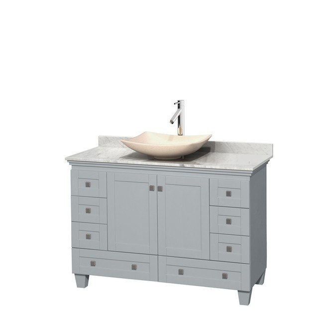 Wyndham Collection WCV800048SOYCMGS5MXX Acclaim 48 Inch Single Bathroom Vanity in Oyster Gray, White Carrera Marble Countertop, Arista Ivory Marble Sink, and No Mirror