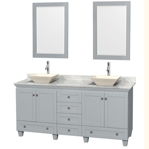 Fresca fvn20 2424aw oxford 48 inch antique white - Antique white double sink bathroom vanities ...