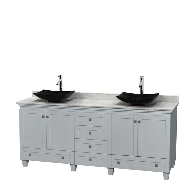 Wyndham Collection WCV800080DOYCMGS4MXX Acclaim 80 Inch Double Bathroom Vanity in Oyster Gray, White Carrera Marble Countertop, Arista Black Granite Sinks, and No Mirrors