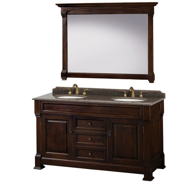 Wyndham Collection Wcvtrad60ddcibunom56 Andover 60 Inch Double Bathroom Vanity In Dark Cherry
