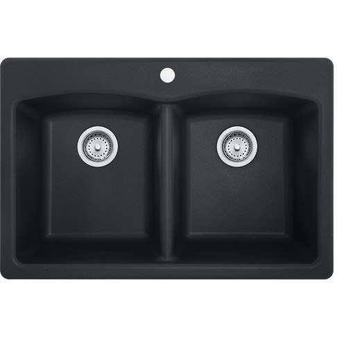 ... Ellipse 33 Inch Dual Mount Double Bowl Granite Kitchen Sink in Onyx