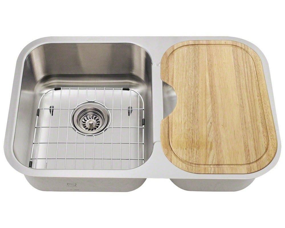 Polaris PL035-ENS 18 Gauge Kitchen Ensemble (Sink, 2 Standard Strainers, 2 Sink Grids, and Cutting Board)