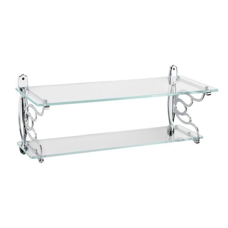 Topex 12136A40 Double Glass Bathroom Shelf Bright Chrome
