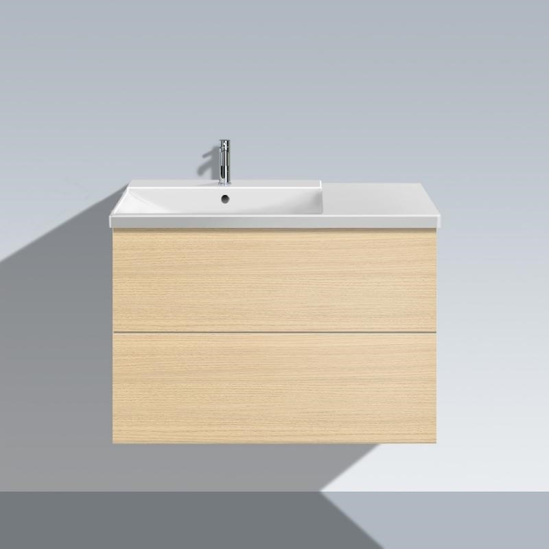Duravit LC6248 L-Cube 32-1/4 x 19 Inch Vanity Unit Wall-Mounted, with Two Drawers, Basin Left