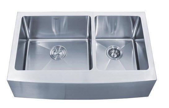 Kraus KHF203-33 33 Inch Farmhouse Apron 60/40 Double Bowl 16 Gauge Stainless Steel Kitchen Sink