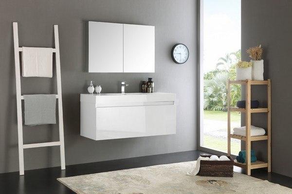 Fresca FVN8011WH Senza Mezzo 48 Inch White Wall Hung Modern Bathroom Vanity with Medicine Cabinet