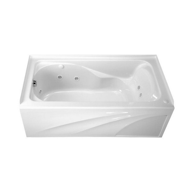 American Standard 2776.218W Cadet 60 x 32 Inch Acrylic Whirlpool, Left Hand Drain Outlet, for Alcove Installation