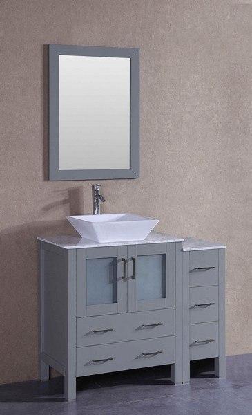Bosconi AGR130SQCM1S 42 Inch Single Vanity Set in Gray