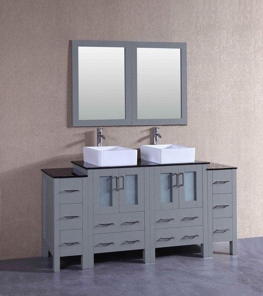 Bosconi AGR224CBEBG2S 72 Inch Double Vanity Set in Gray