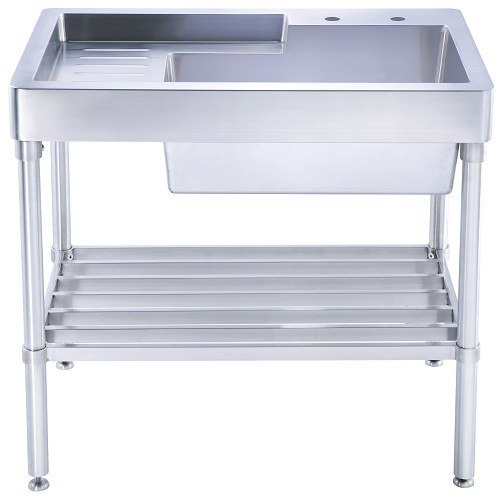 Utility Sinks With Drainboards : ... Single Bowl, Freestanding Utility Sink with Drainboard and Lower Rack