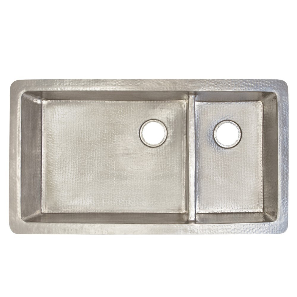 Native Trails Cpk77 Cocina Duet Pro 40 Inch Double Bowl Hand Hammered Copper Undermount Kitchen