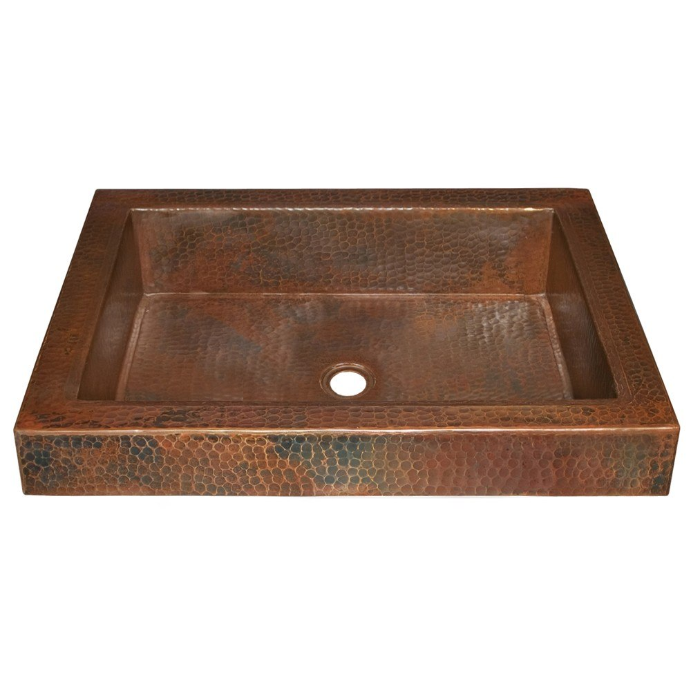 Native trails cps46 tatra 20 inch hand hammered drop in for Rectangular copper bathroom sink