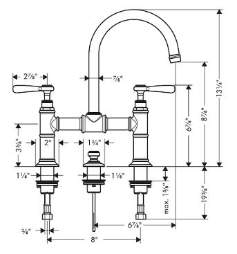Hansgrohe 16511 Axor Montreux Widespread Faucet W Lever Handles Bridge Model 16511001 16511821