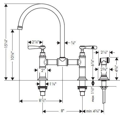Hansgrohe Axor Montreux Kitchen Faucet W Lever Handles Bridge Model W Side Sp Ray 16818001